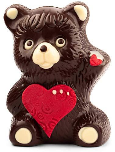 VEGAN Valentinstag Schokolade Bär aus feinster Zartbitter-Kuvertüre ohne tierische Inhaltsstoffe mit Marzipan Herz - Deutsche Handarbeit ideal als Geschenk - 200g