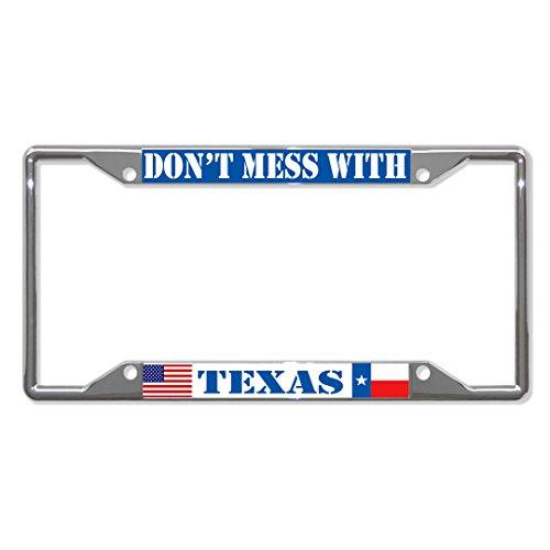 Niet knoeien met Texas Staat Licentie Plaat Frame Tag Houder Vier Gaten Perfect voor Mannen Vrouwen Auto garadge Decor
