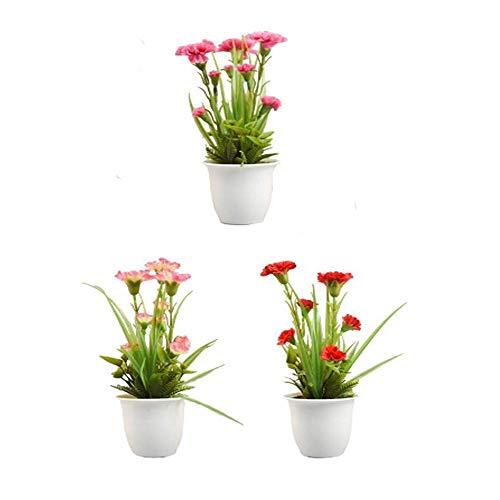 Unishop Set de 3 Macetas de Clavel Artificiales de Colores, Ramos de Flores Pequeñas Artificiales, Flores para Decorar Interior, Plantas Decorativas Falsas para Hogar