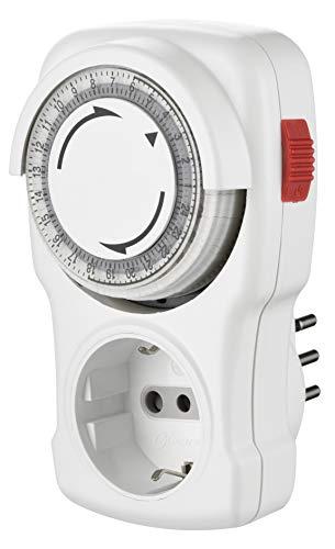 Electraline 58113 - Programador temporizador mecánico diario, enchufe italiano pequeño 10 A, enchufe Schuko + 10 A, blanco