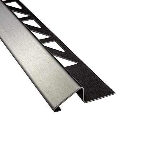 Anpassungsprofil Edelstahl Übergang Fliesenleiste Profil Schiene V2A L250cm H10mm gebürstet