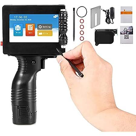 MATHOWAL Imprimante à Jet d'encre Portable avec écran Tactile de 4,3 Pouces 600DPI, avec Machine de Codage à Jet d'encre à Cartouche d'encre, utilisée pour Le Codage de la Date de Production