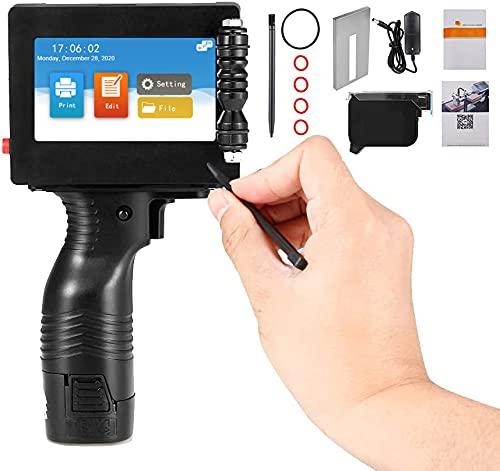 MATHOWAL Stampante a getto d inchiostro portatile con touch screen da 4,3 pollici 600 DPI, con codificatrice a getto d inchiostro a cartuccia d inchiostro, per la codifica della data di produzione