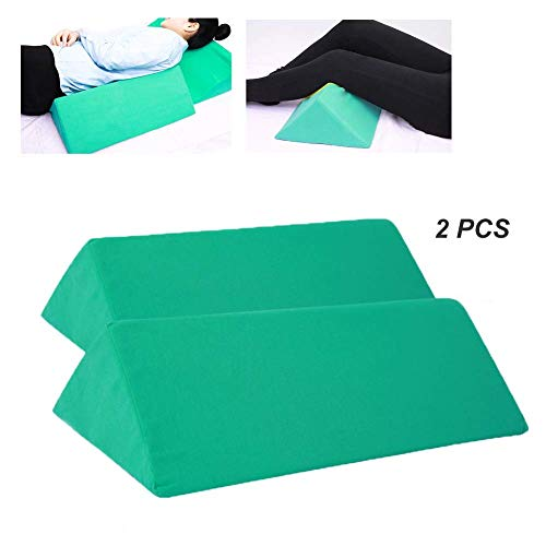 HYDDG Foam Bed Wedge Pillow with Washable Cover,Leg Rest Cushion for Back Support,Elevating Legs and Acid Reflux,Green,2Pcs