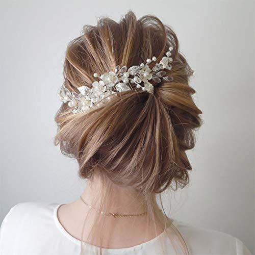 Ushiny Haarkämme mit Blume, silberne Perlen, Brautschmuck, Haarschmuck für Frauen und Mädchen