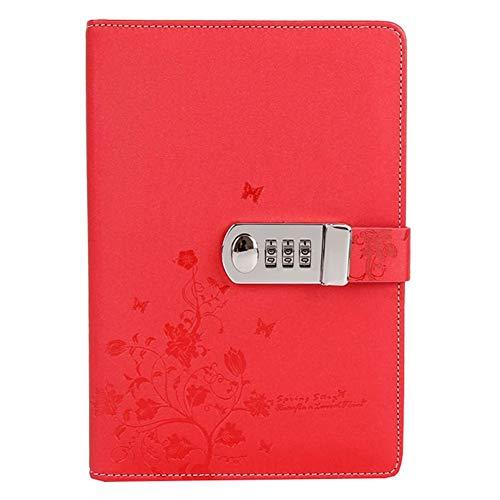 YYDZ PU Leder Zahlenschloss Tagebuch Schreiben Notebook Planer Organizer, Schmetterling und Blumenmuster Passwort Tagebuch Notizblock mit Stift Halter, A5 Größe 210x145mm (Color : Red)