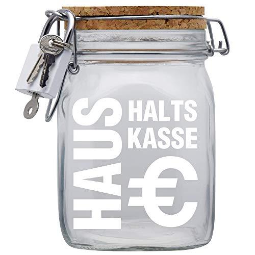 Haushalts-Kasse XXL-Spardose mit Vorhängeschloss in Weiss/Geld-Geschenk Idee XXL Sparbüchse Glas Geldgeschenk mit Korkdeckel und Sparschlitz Middle Transparent