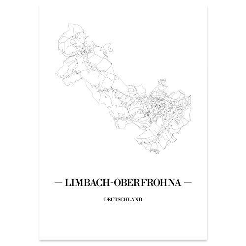 JUNIWORDS Stadtposter - Wähle Deine Stadt - Limbach-Oberfrohna - 60 x 90 cm Poster - Schrift A - Weiß