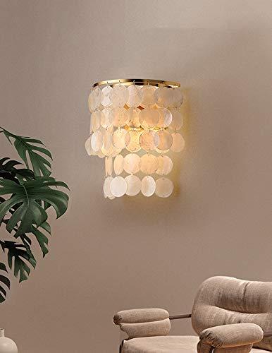 Lámpara de pared adecuada para el fondo de sala de estar, habitación infantil estilo nordico sala de boda lámpara de pared de concha (Luz cálida, Dorado)