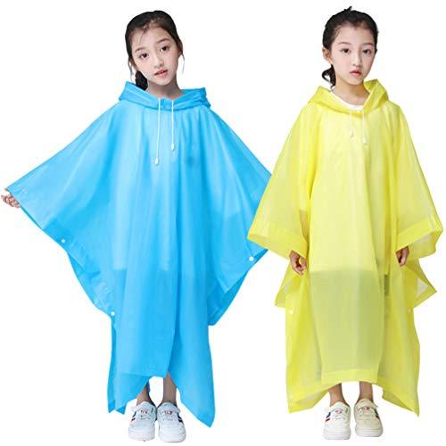 iplusmile 2 Stück Kinder Regenmäntel Regen Ponchos wasserdichte Notfall Regenschutz Regenbekleidung mit Kapuze - für Reisen Camping Themenpark (Gelb Blau)