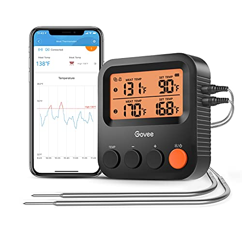 Govee Wireless Digital Meat Thermometer, Remote Bluetooth Grill Monitor with Smart Temperature Notification Alerts, 230ft Range with 2 Probes, Timer, and Backlight, for Cooking, BBQ, Smoker, Kitchen