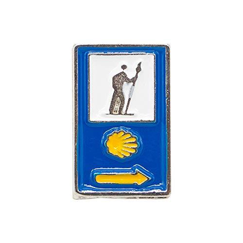 Finoly Pin Camino de Santiago para Ropa Varios Diseños Xacobeo Jacobeo (Pin Triple Señal Azul)