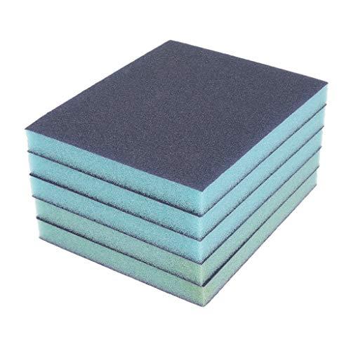 D dolity 5unidades–Esponja de lija blauf Colores Espuma de lijar Lija Medio 120Grit, 2páginas lija grano revestimiento hojas de lijado