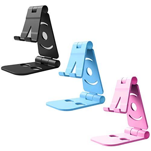 CBGGQ Lot de 3 Support Téléphone, Support Tablette, Support Portable Bureau Multi-Angles Réglable, Compatible avec iPhone 12 11 Pro XS XS Max XR X 8 7 6S Plus, Samsung, Smartphones (Noir+Rose+Bleu)