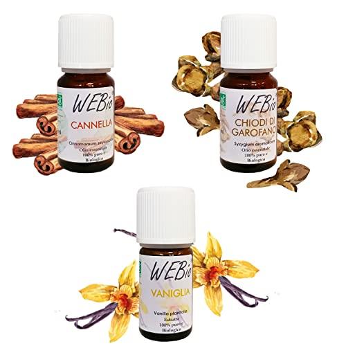Kit especiado de aceites esenciales orgánicos, Top 3, altísima calidad, 100 % puros y naturales, Aromas Alimentarios, Aromaterapia, Relax, Benestar, Canela, Clavos de Garofano, Vainilla