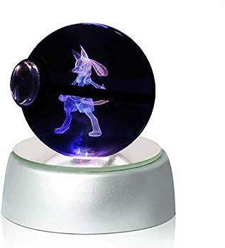 Character Design 3D LED Crystal Ball Premium Base Night Light Lamp  Lucario