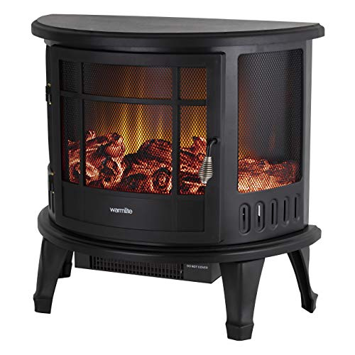 Warmlite Bath Log Effect Electric Stove Fire with Adjustable Thermostat Control