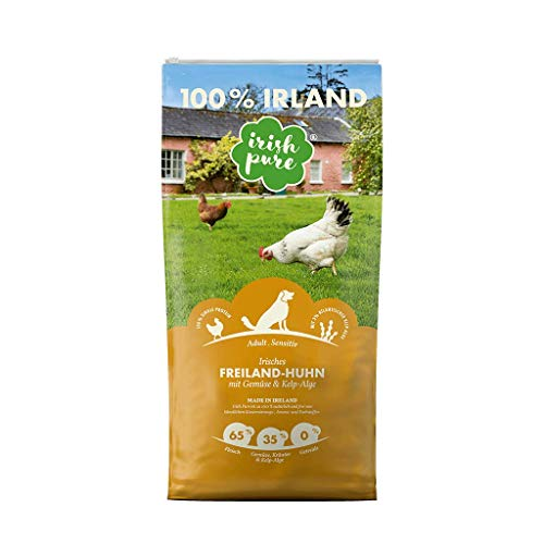 Irish Pure Sensitiv Hundetrockenfutter – Freiland Huhn – getreidefrei & hoher Fleischanteil (65%) für Adult Hunde