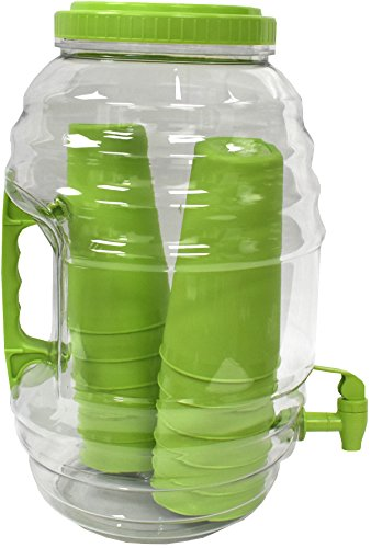 American Made American Maid 3 gallon GREEN Vitrolero Beverage Dispenser W/Tumblers Inside, 3 gal