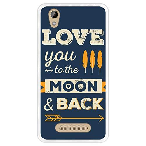 Hapdey Funda Transparente para [ ZTE Blade A452 - X3 ] diseño [ Frase romántica, Love You to The Moon and Back ] Carcasa Silicona Flexible TPU