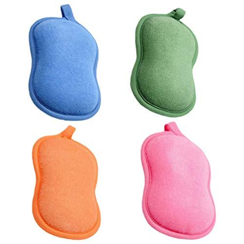 TOYANDONA 4 Piezas de Esponja de Baño para Bebés Esponja de Baño para Niños Esponja de Bambú para Recién Nacidos Paño Exfoliante de Ducha Facial (Color Aleatorio)