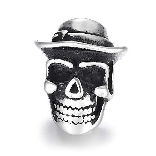 EKimmer Cuentas de Calavera de Vaquero Agujero Grande 6Mm Colgante de Encanto Deslizante DIY Hombres Pulsera fabricación Suministros hallazgos de joyería Skull Bead