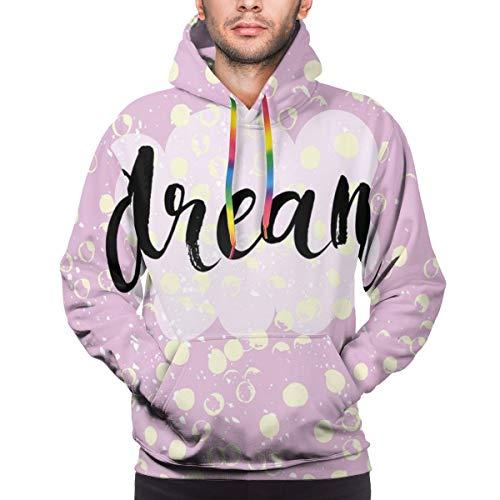 Preisvergleich Produktbild Men's Hoodies Sweatershirt, Hand Written Style Dream Word On A Cloud Shape and Grungy Dots, 3D Printing Long Sleeve Casual Sweatershirt Tops, Size X-Large