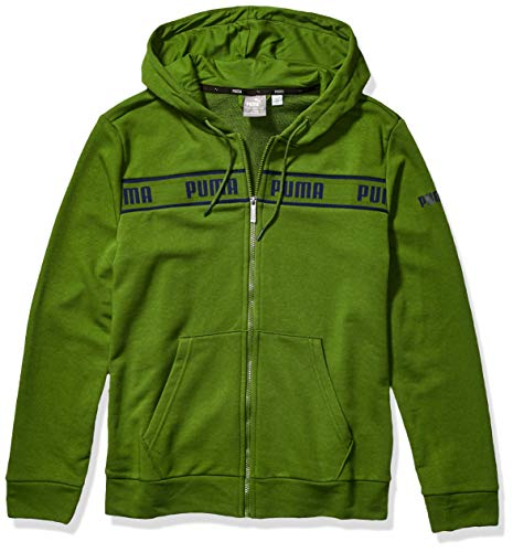 PUMA Men's Amplified Hooded Jacket French Terry, Garden Green, M
