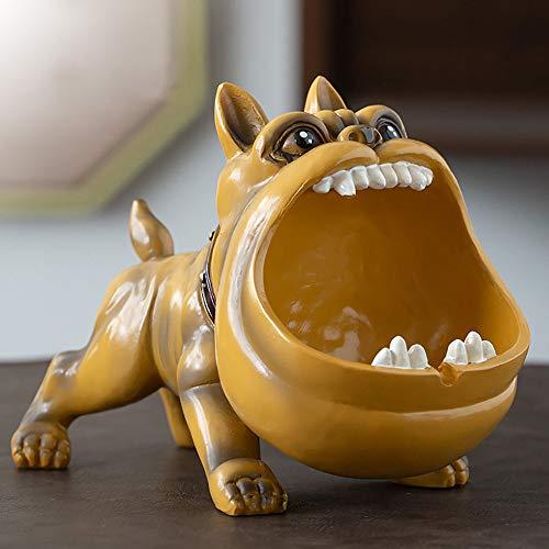 Wanjun Cenicero Bulldog, Cenicero Perro, Divertido Regalo para H.Ombre, Fabricado En Resina Natural, 20X10X14Cm,C