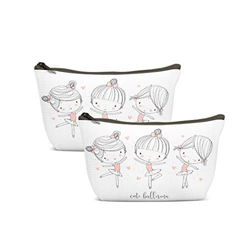 Wbluck - Bolsos de aseo de ballet para niñas, diseño de bailarina