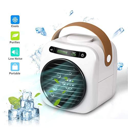Air Cooler Mini Refrigerador de Aire, Aire Acondicionado Portátil USB 4 en 1, Purificador, Humidificador, Ventilación de 3 Niveles, con Display Digitale a LED, para el Hogar/Oficina