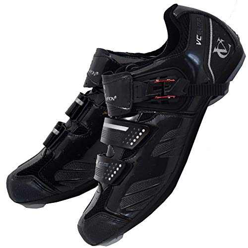 VeloChampion Zapatillas de Ciclismo Elite Road (par) Cycling Road Shoes Black/Silver 41