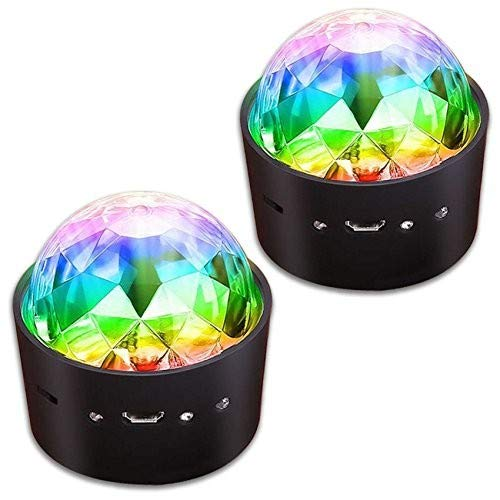 [2-Pack] Wireless Disco Ball Lights Battery Operated Sound Activated LED Party Strobe Light Mini Portable RGB DJ Stage Light with USB