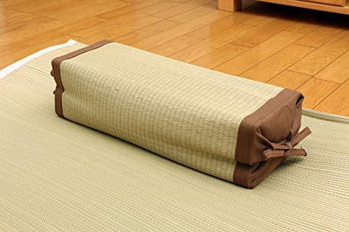 IKEHIKO - Almohada Japonesa Tradicional Hecha de Hierba Natural Igusa Rush Altura Ajustable 40 x 15 cm, Fabricada en Japón marrón
