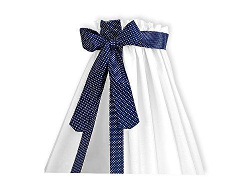 KraftKids KraftKids Betthimmel in weiße Punkte auf Dunkelblau, Bettvorhang 200 cm breit x 150 cm hoch, Baldachin mit Liebe handgefertigt in der EU