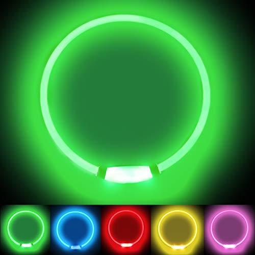 LMLMD Luminoso Collar Perro de Mascota LED, Ajustable Recargable 3 Modos, Collares LED para Perros Pequeños/Medianos/Grandes, Verde