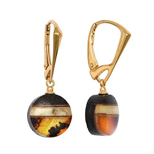 ANDANTE Premium Collection – Master of Zen – Pendientes de ámbar natural del mar Báltico, oro puro de 23 quilates, plata de ley 925 y roble negro, certificado Kleopatra, oro del mar