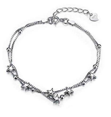 Borong Armband Damen Silber Stern Armkette Kette Frauen Schmuck mit 925 Sterling Silber Freundschaft Geschenk für Mädchen Teenager