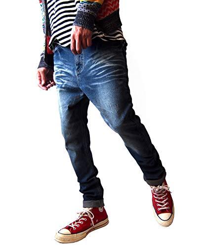 2026-3-USED INDIGO デニムパンツ サルエルパンツ スキニーパンツ メンズ ストレッチツイル テーパードパンツ ちょいサルエルパンツ