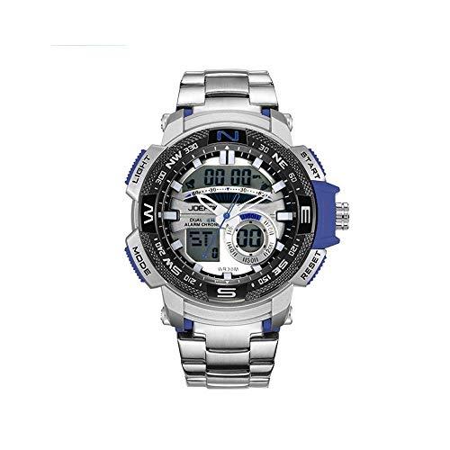 FQDQH Doble Deportes de la exhibición del Reloj, los Hombres de Cuarzo Reloj electrónico Informal, a Prueba de Agua y frío Ocio Luz multifunción Reloj (Color : Silver Blue)