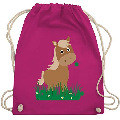 Shirtracer Tiermotive Kind - Süßes Pferd - Unisize - Fuchsia - turnbeutel kindergarten pferde - WM110 - Turnbeutel und Stoffbeutel aus Baumwolle