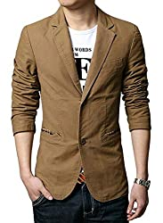 chenshijiu Mens Blazer Jacket Slim Fit Casual Two Button Solid Daily Sport Suit Jacket