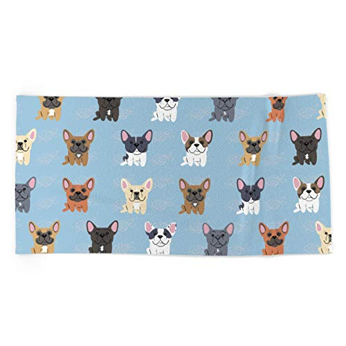 Society6 French Bulldogs by Doggie Drawings by Lili Chin on Oversized Beach Towel - Beach Towel