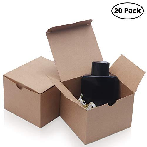 Belle Vous Kraft Braune Schachteln (20-er Pack) - (12x12x9cm) Kraft Papier Geschenkbox Set - Vintage Brautjungfer Vorschlag Geschenkbox für Party, Hochzeit, Kekse, Schokolade, Schmuck und Geschenke