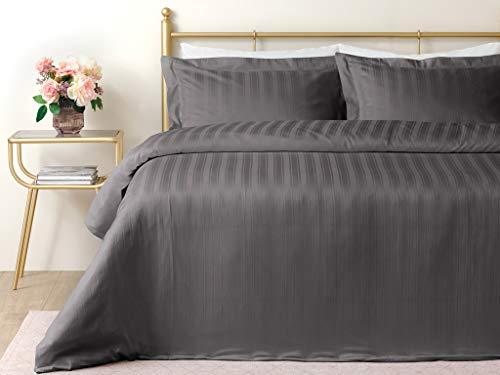 Lior - Juego de funda nórdica y funda de edredón (200 x 220 cm), diseño de rayas, color gris