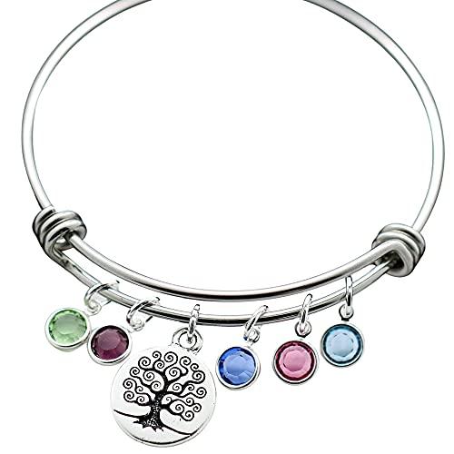 Family Tree Birthstone Bangle Bracelet for Mom - Up to 9 Birthstones