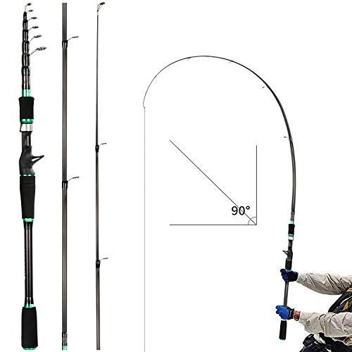 REAWOW Carbon Teleskop-Angelrute Reise Casting Angelrute Hochsee Tragbarer Carbonmast für Surf Salzwasser Süßwasser Bass Fischerboot (grün) (1.8)