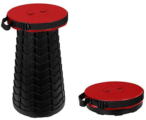 Trendyshop365 Teleskop-Sitzhocker Rot bis 180kg 10-Fach höhenverstellbar Hocker faltbar Duschhocker Camping Angeln Sitzgelegenheit für unterwegs klappbar rund Kinder Erwachsene …