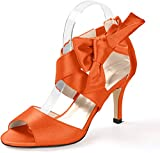 Creativesugar Women's Orange Bow Sandals Satin Dress Shoes Wedding Heels (10)