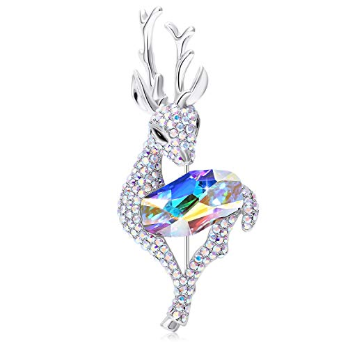 SUE'S SECRET Aurora Fawn Brooches with High Grade Crystals for Women Gifts for Mum Ladies Birthday Wedding Prom Jewellery Corsage